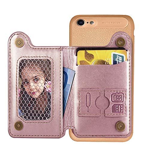 Preisvergleich Produktbild Artfeel Brieftasche Hülle für iPhone 7 Plus, iPhone 8 Plus Hülle, Slim Retro Leder Handyhülle mit Kartenhalter Tasche, Flip Magnetverschluss Stand Stoßfest Zurück Schutzhülle-Rose Gold