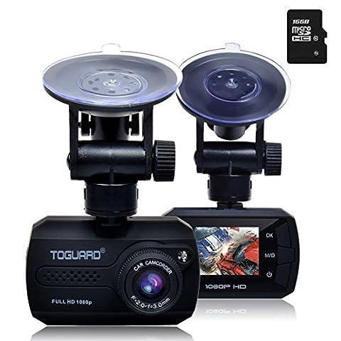 TOGUARD Mini Full HD 1080P Caméra Embarquée Pour Voiture Grand Angle DASHCAM DVR Appareil Photo Intégré - Capteur-G, Détection De Mouvement, Enregistrement En Boucle, 16 Go Carte MicroSD Inclus