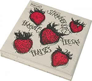 Set of 20 Cream & Red Napkins with Strawberry Design by Parlane