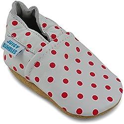 Zapatos Bebe Niña - Zapatillas Niña - Patucos Primeros Pasos - Lunares Rojos - 18-24 Meses