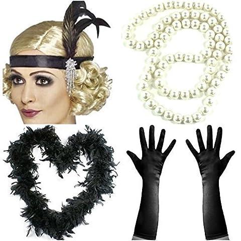4 Piece Charleston Flapper Dress Up Set Accessories Ladies Gloves Headband Feather Boa Beads Halloween Fancy Dress by