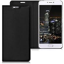 kwmobile Funda para Meizu M3 Note - Flip cover Case para móvil en cuero sintético - Estilo libro plegable negro