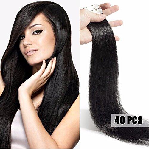 40 Extensions Adhesives Cheveux Naturels Bande Adhésive - Tape in Remy Human Hair Extensions - 40 Pièces/100g Pour Toute la Tête (40cm, #01 Noir)