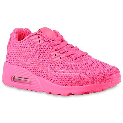 Stiefelparadies Trendige Unisex Lauf Damen Herren Kinder Sport Metallic Glitzer Camouflage Sneaker Bunt Schnür Sport Schuhe 135529 Pink Neon 37 Flandell
