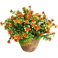 WINOMO Planta Artificial Potted Falsa Planta decorativa Bonsai Lifelike Flor para decoración del hogar (naranja)
