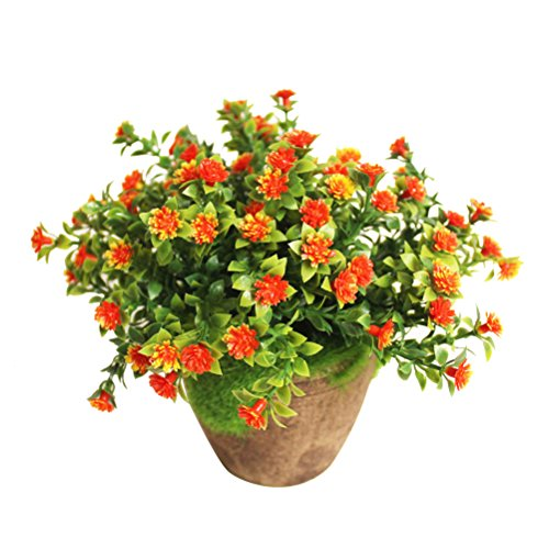 WINOMO Künstliche Pflanzen Simulierte Pflanze Dekorative Bonsai Plastik Blume für Zuhause Dekoration (Orange) -