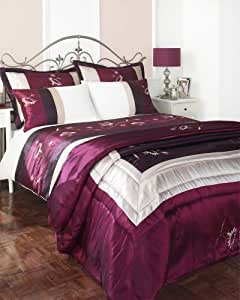 KING SIZE BED SET - AUBERGINE WINE DUVET COVER & BEDSPREAD THROW