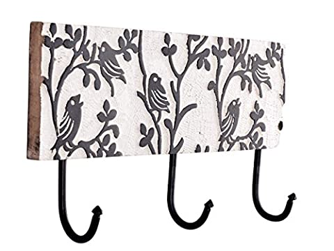 Store Indyatore Indya Coat Hooks Rack Hat Bags Towel Robe Hanger Wall Mounted 3 Tri Hooks Home Storage Decor Handmade with Distressed Finish (Black & White)