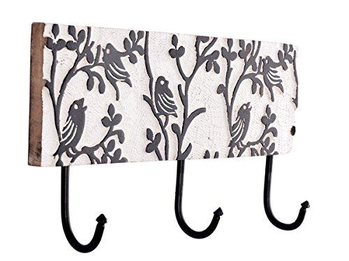 Store Indya, Wall Mounted Laub mit Vogel entwarfen Mango Holz und Eisen-2-Haken-Mantel-Wandhalter Entryway Kleiderhaken Garment Hutablage