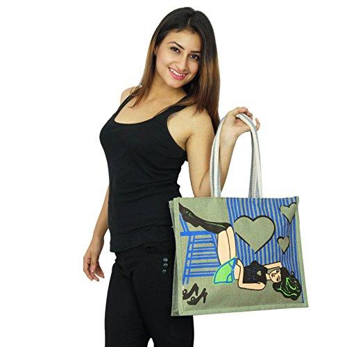 Taschen Frauen grünlich Grau Handtaschen indische für Modedesigner Baumwolle Handarbeit Jute Geschenk zYqwgSYrx