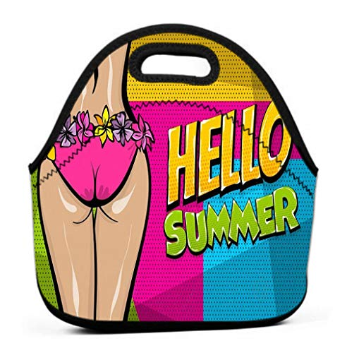 Lunch Bag Insulated Lunch Tote Bag Perfect for Work Picnic hawaii woman pop art style retro poster hello summer vacation tropical banner comic text halftone wow female body booty