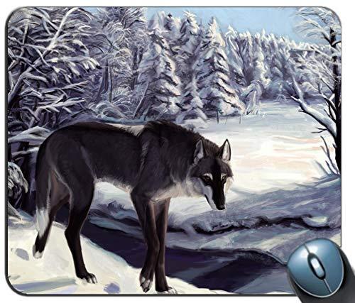 Wolf-Hintergrund-Mausunterlage, Spiel-Mausunterlage Rutschfeste Gummibasis, personalisierte Mausunterlage für Computer und Laptop -