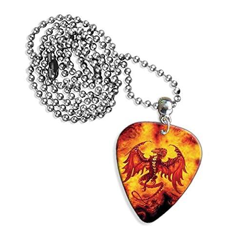 Dragon flammes–Collier Femme–Logo de guitare (GD)