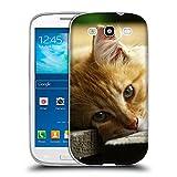 Just Phone Cases Schutz Hülle TPU Case Schutzhülle Silikon Tasche Dünn Transparent // V00004287 Katze liegend auf Holzbrettern // Samsung Galaxy S3 S III SIII i9300
