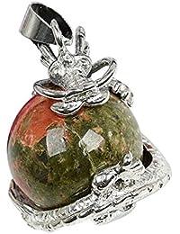 TOOGOO(R) 1 PCS Natural 15mm Piedra Preciosa Bola Colgante Envuelta Plata Aleacion Dragon para Mujeres Encantada Joyeria Collar - Unakite
