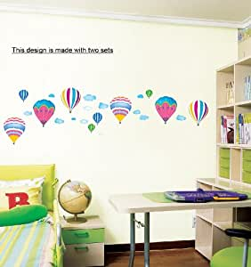 Air balloon mural wall stickers home art deco wall for Greche adesive