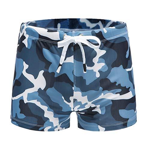 SO-buts Die sexy Badehose-Strand-Badeshorts Art- und Weisemänner unterweist Schwimmen-Hosen, Sommerkomfort Tarnt Sexy Badehose-Strandbadeshorts Gestreifte Boxer-Stämme(Blau,L) -