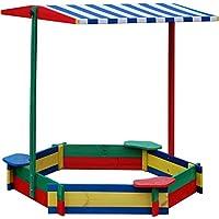 Andrewex colorful hexagonal sandbox with seats 130 cm