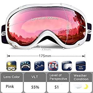 Snowledge Ski Snowboard Goggles with UV400 Protection, OTG Skiing Snowboarding Goggles of Dual Lens with Anti Fog for Men, Women,Helmet Compatible
