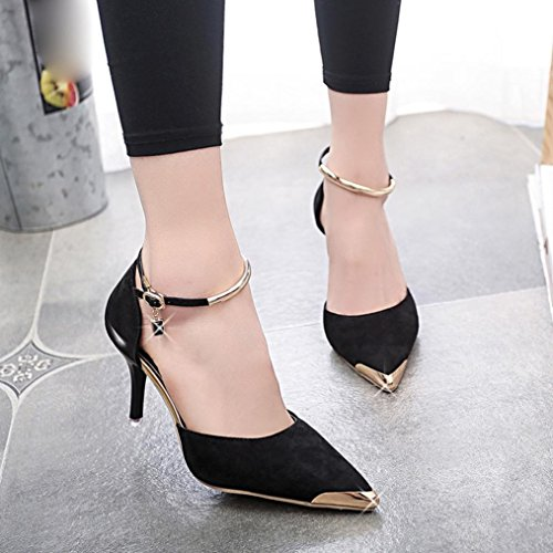 Hunpta Frauen spitzen Zeh Gürtelschnalle Strap High Heels Sexy Style Schuhe Hochzeit Schuhe Schwarz