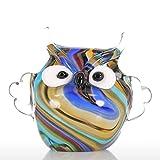 Tooarts Glasskulptur Dekofigur Tier Skulptur aus Glas Eule Handarbeit