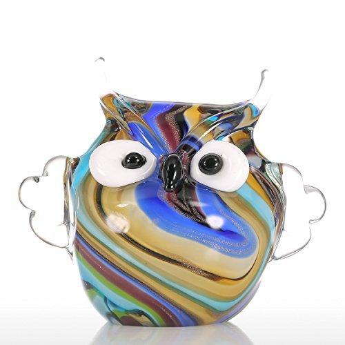 Scopri offerta per Tooarts Owl Colorato Ornamento di Vetro Regalo Figurine Animale Handblown Decorazione Domestica Multicolore