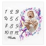 Copertina per neonato con pietra miliare mensile, coperta per fotografie, sfondo per la crescita, 100 x 100 cm