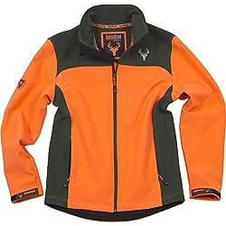 Work Team Cazadora workshell alta visibilidad, combinada, con 2 bolsillos laterales. HOMBRE Naranja AV/Verde Caza XL