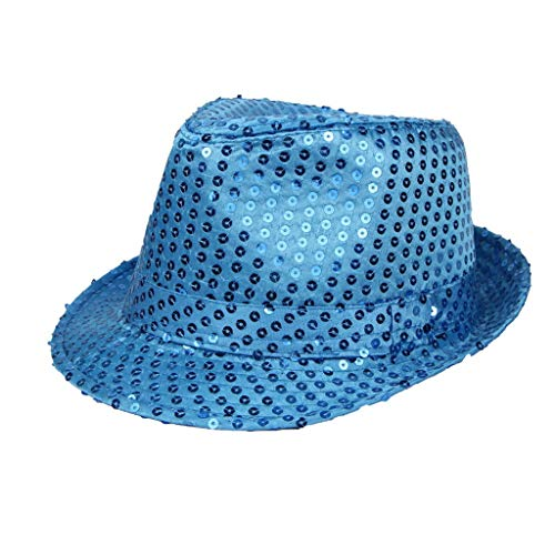 Sannysis Trilby Hut Helle Leuchtende Glitzer Pailletten für Bühnenshow Jazz Unisex Cap Hiphop Fancy Dress blinkende Blinkender Fedora Weihnachtsparty Bunte Tanzhut H