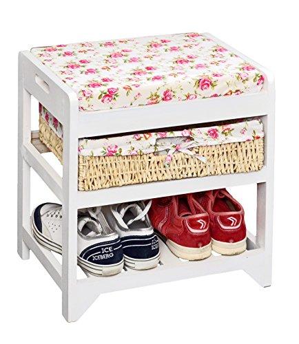 Ts-ideen - panchina/scarpiera con cestino in vimini, colore: bianco
