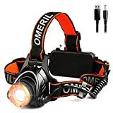 OMERIL Lampe Frontale Puissante,Torche Frontale USB Rechargeable LED CREE XML-T6,2000...