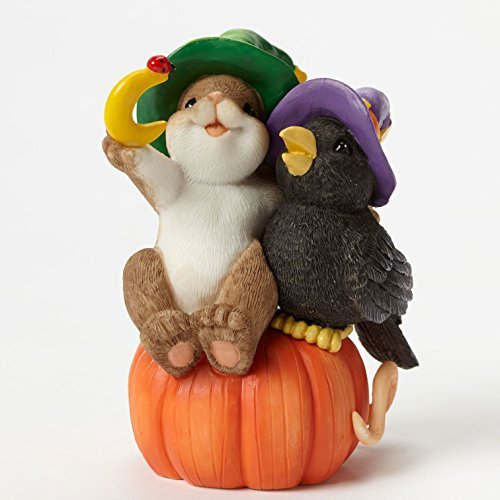 ENESCO Halloween-Figur mit Krähe, 8,9 cm