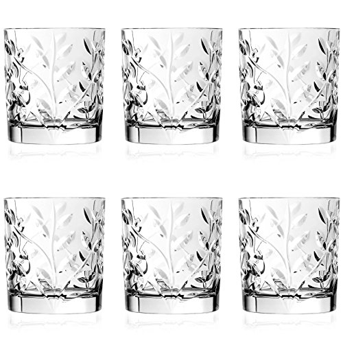 RCR Kristall Laurus Cut Glass Double Old Fashioned Whisky Tumblers - 330ml - Packung mit 6 Whisky-Glas (Double Fashioned Gläser Old)