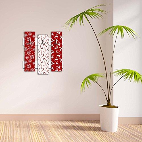 Dekorative Wandhaken 3PCS Metall Schlüssel Halter 100% MDF montierter Aufhängung HOME DECOR, perfekt für Foyers Diele, Tür Mäntel Mützen Handtücher Schals Taschen frohe Weihnachten Candy Cane Deer Schneeflocke Schlitten