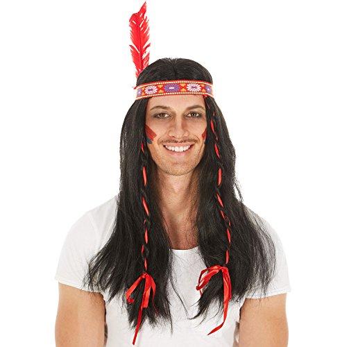 Perücke schwarz mit 2 Zöpfen und eingearbeiteten roten Bändern | 70cm | Indinaer Apache Fasching