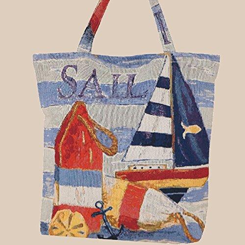 Kamaca Shopper Tragetasche Einkaufstasche Maritime Welten mit Motiven rund ums Meer aus Web-Gobelin (Shopper Sail)