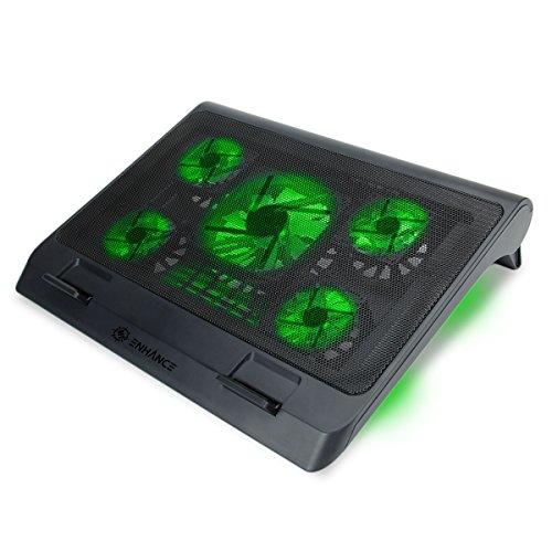 ENHANCE CPU Laptop Kühler - Gaming Cooling Pad Ständer mit LED Effekt & modernem, extrem leisem 2550 RPM Lüfter, Höhenverstellbar & USB-Anschluss, ideal für 17-Zoll-Laptops - Grün