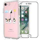 Yalixin iPhone 7 Hülle, iPhone 8 Handyhülle, Phone Cover [Gehärtetem Glas Displayschutz Folie], Ultradünn Transparent TPU Nettes Pinguin Muster Handyhülle für Apple iPhone 7 / iPhone 8 4.7 Zoll