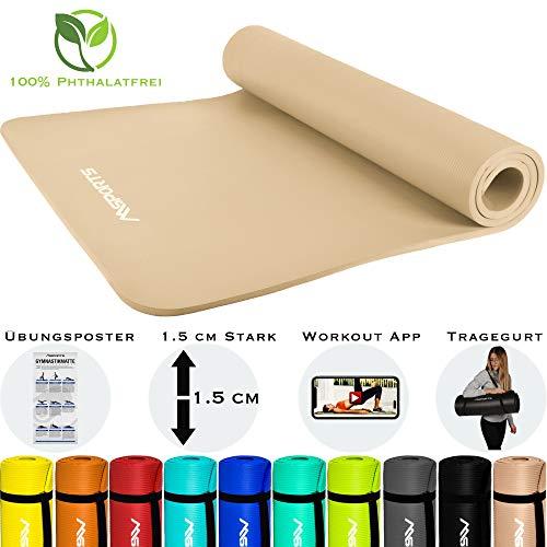 MSPORTS Gymnastikmatte Premium inkl. Tragegurt + Übungsposter + Workout App GRATIS I Fitnessmatte Beige-Caramel - 190 x 100 x 1,5 cm Hautfreundliche Phthalatfreie Yogamatte