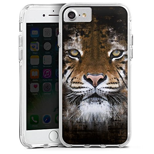 Apple iPhone 7 Bumper Hülle Bumper Case Glitzer Hülle Tiger Animals Tiere Bumper Case transparent