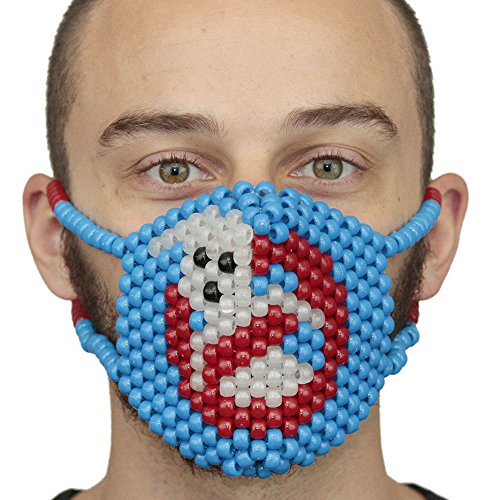Kandi Gear Glow In The Dark Ghost Busters Kandi Mask Surgical by, rave mask, halloween mask, beaded mask, bead mask for music fesivals and parties