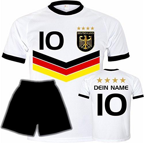 Preisvergleich Produktbild Deutschland Trikot + Hose mit GRATIS Wunschname + Nummer + Wappen Typ DV im EM / WM weiss - Geschenke für Kinder, Jungen, Baby, .. Fußball T-Shirt personalisiert als Weihnachtsgeschenk