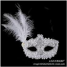 05dac4d13592e SCLMJ Máscara De Bola De Navidad Sombrero con Plumas De Encaje Sombrero  Máscara De Mascarada De