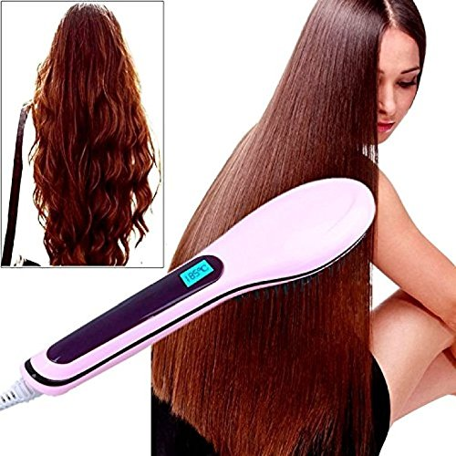 Everbuy 2-in-1 Ceramic Fast Hair Straightener Styling Brush with Temperature