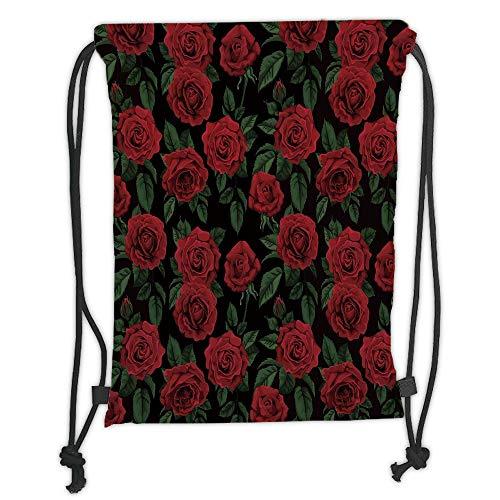 Juzijiang Drawstring Sack Backpacks Bags,Rose,Valentines Day Retro Style Petals with Leaves Ornamental Growth Pattern,Ruby Hunter Green Black Soft Satin Closure,5 Liter Capacity,Adjustable. Hunter Green Cord