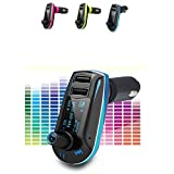 REALMAX� Car FM Radio universal Transmitter modulator with LED display dual USB ports 3.5 mm Aux port Music MP3 Player car kit + Remote wireless radio audio adapter universally compatible with all car models All android smartphones iPhones Ipads ipods mp4 players (Blue)