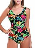 FITTOO Damen Gepolsterter Einteiliger Figurformender Rückenfreier Sport Badeanzug Blumen Muster L