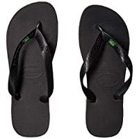 Havaianas Men's Flip Flop Sandals, Brazil Logo,Black,41/42 BR (9/10 M US)
