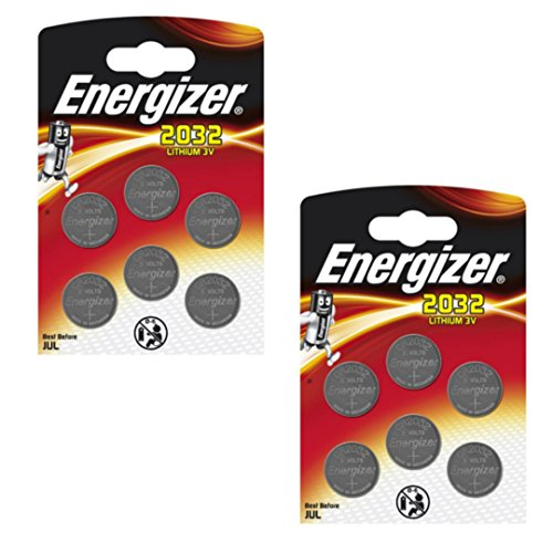 12 x Energizer CR2032 Coin litio 3 V Battery Batterie for Watches Torce Keys