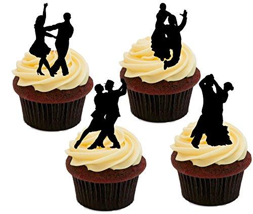 BALLROOM Dancing Silhouettes, essbaren Kuchen Dekorationen–Stand-Up Wafer Cupcake Topper, 24er-Pack (Dancing Silhouette)
